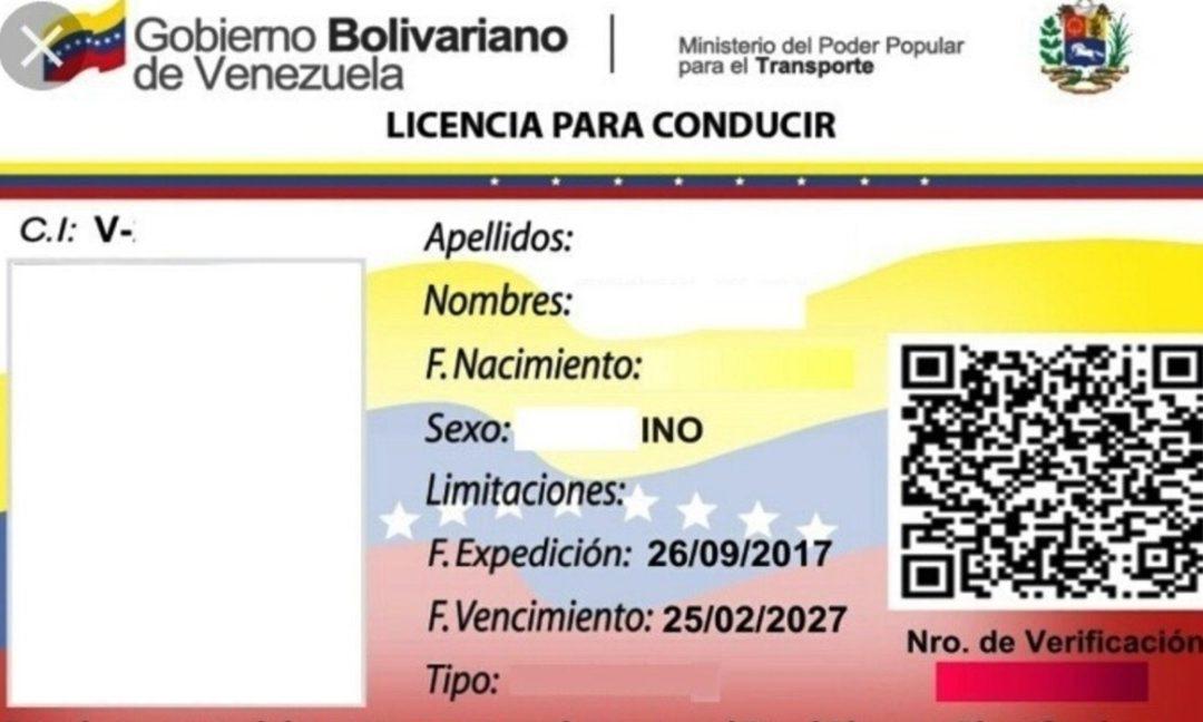 Así es el nuevo formato del INTT para la licencia de conducir